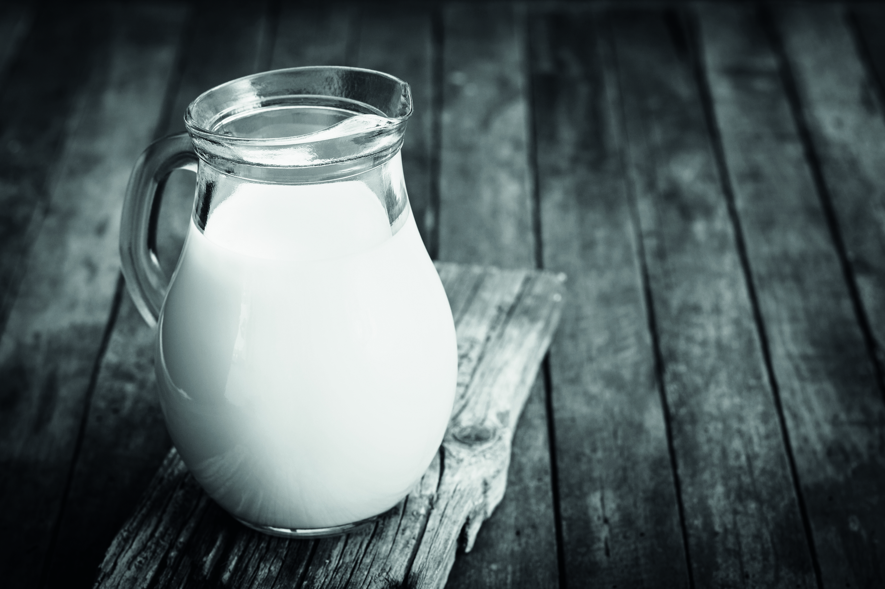 Fresh milk in the jug on the table